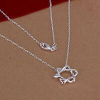 Star Of David Silver Plated Hexagon Necklace Pendant Jewish Six Ray Jewelry