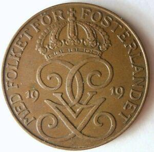 1919-Svezia-5-Ore-Introvabile-Periodo-Moneta-Premium-Vintage-Bin-17