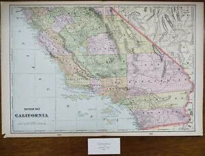 "Vintage 1900 SOUTHERN CALIFORNIA Map 22""x14"" ~ Old Antique Original LOS ANGELES"