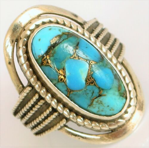 DESIGNER Gold Sterling SILVER Turquoise large Bright Fancy ring signed MLD