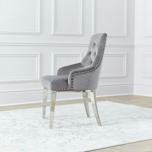 NICHES Ring Knocker Back Dining Chairs Grey Velvet Chrome Leg Studs Accent Chair