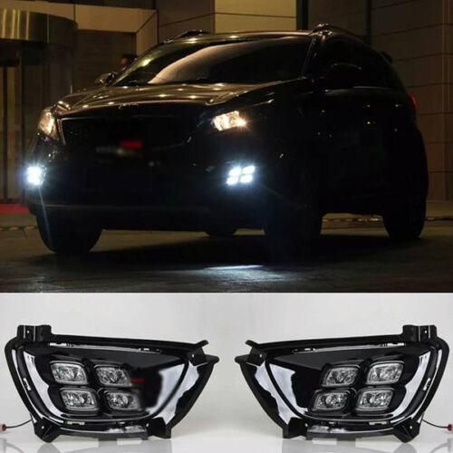 16-18 For Kia Sorento Fog Light Foglamps LED DRL 4 Four Eyes Black w Connector