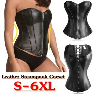 Women-039-s-Corset-Front-Zipper-Button-Steampunk-Sexy-Bustier-PU-Leather-Plus-Size