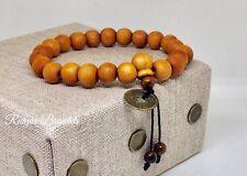 Feng Shui Coin Whit Tibetan Buddha Prayer Mala Wood Bracelet Whit Tiger Eyes
