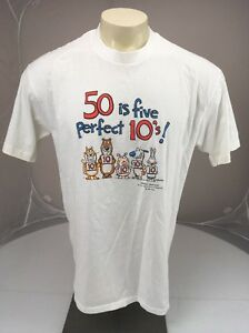 Vtg-80s-50-is-Five-Perfect-10s-Birthday-Humor-Hallmark-Shoebox-XLarge-TShirt-USA