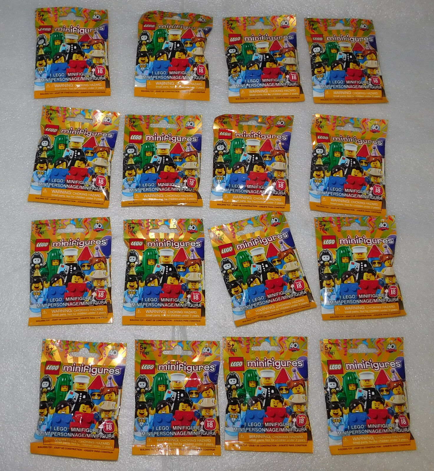 Lego Series 18 Sealed Collectible Minifigures Set of 16 40th Anniversary Party