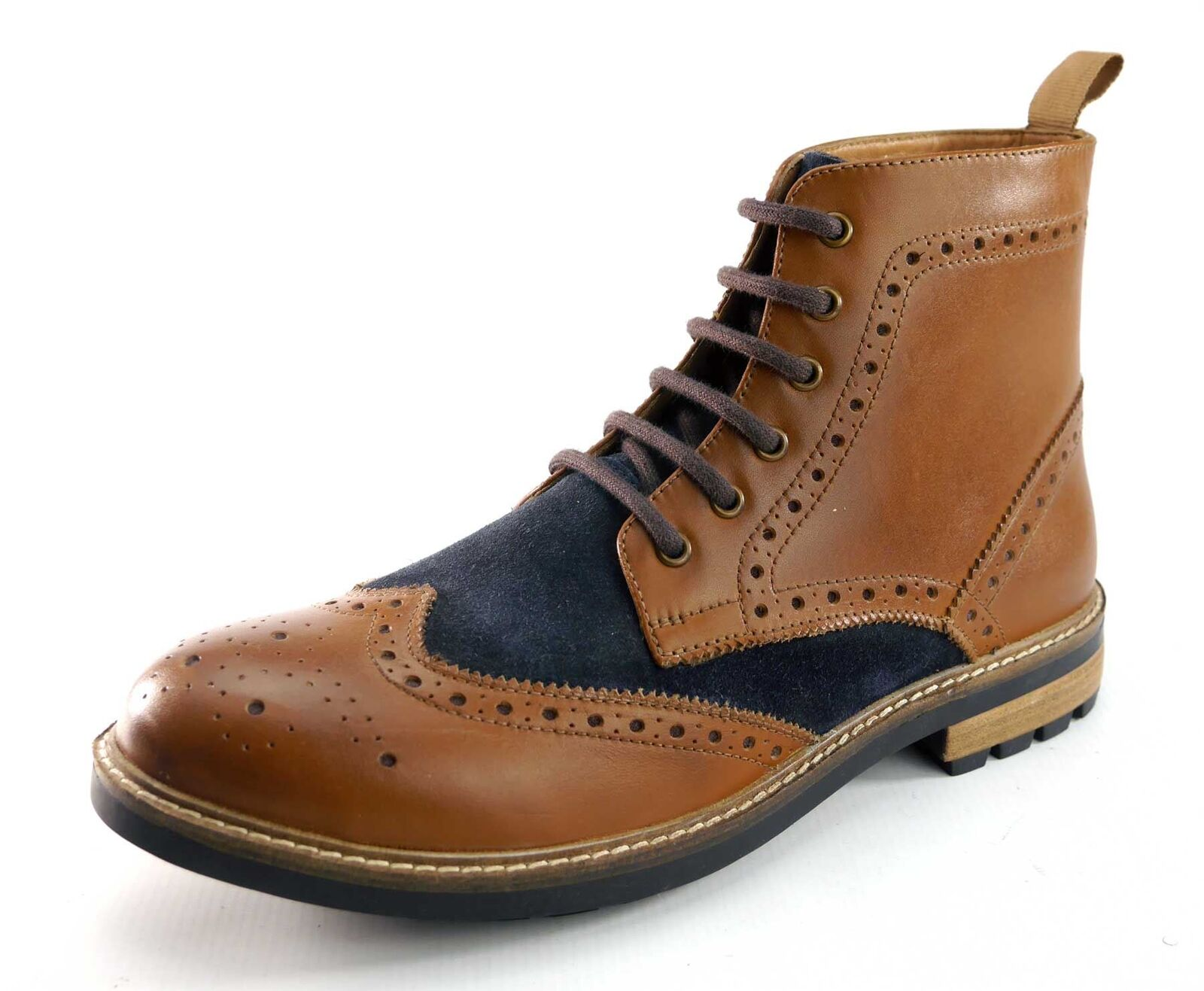 Frank James Hackney Mens Real Leather Lace Up Brogue Stiefel Tan   Navy