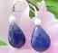 Natural Caída egipcio Azul Lapislázuli 6-7mm Blanco Perla Gota cuelgan pendientes