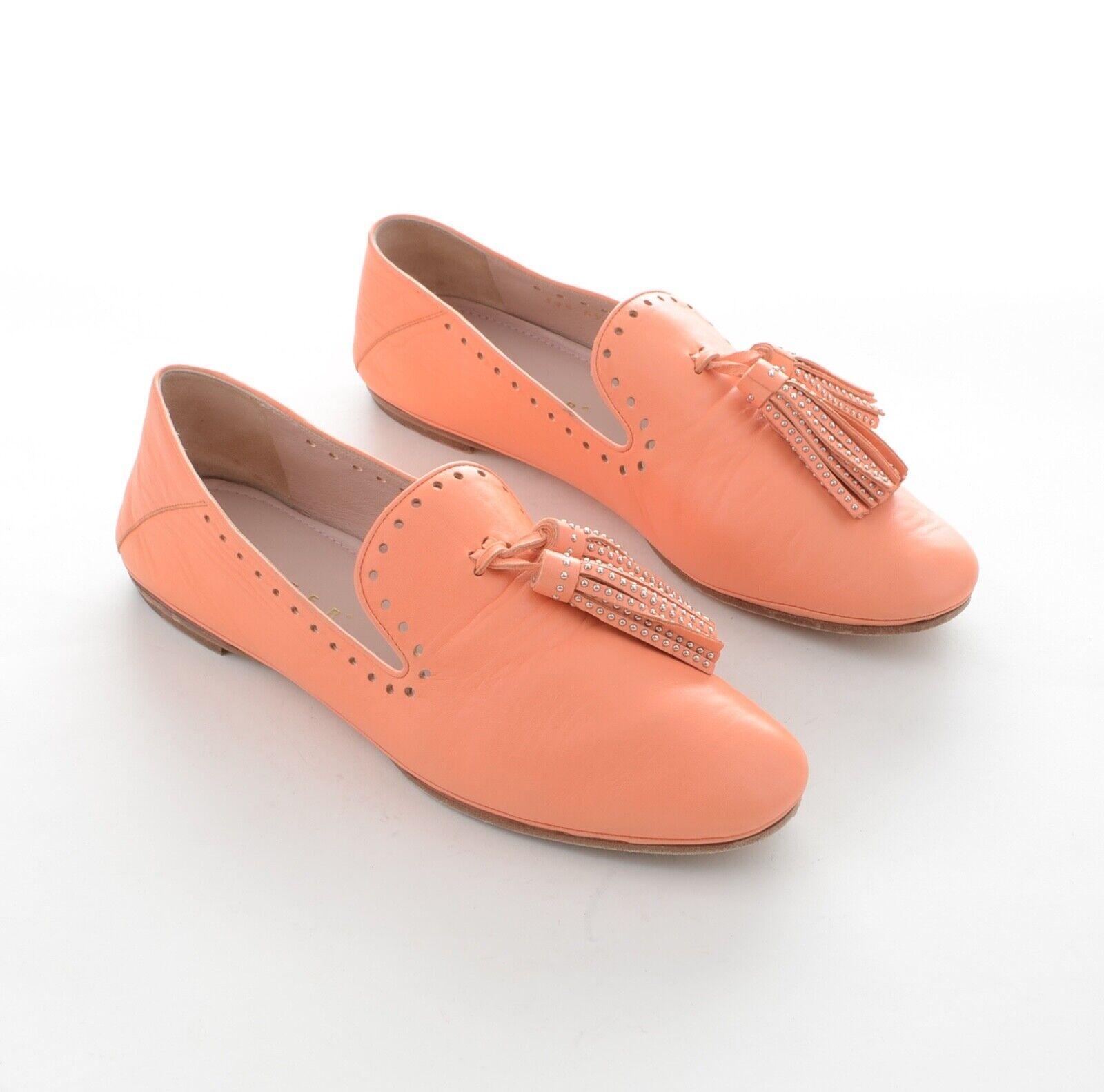 Unützer Damen Slipper Loafers Halbschuhe Gr.39,5 Lachs Orange Leder