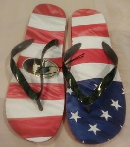2d62fd262efbd NWT MOSSY OAK American Flag / Camo Flip Flops Sandals Mens Large L ...