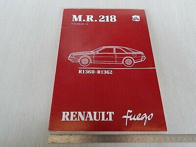 Sezione Speciale Manuale Officina Solo Meccanica Originale 1980 Renualt Fuego R1360 R1362 Franc. Aspetto Bello