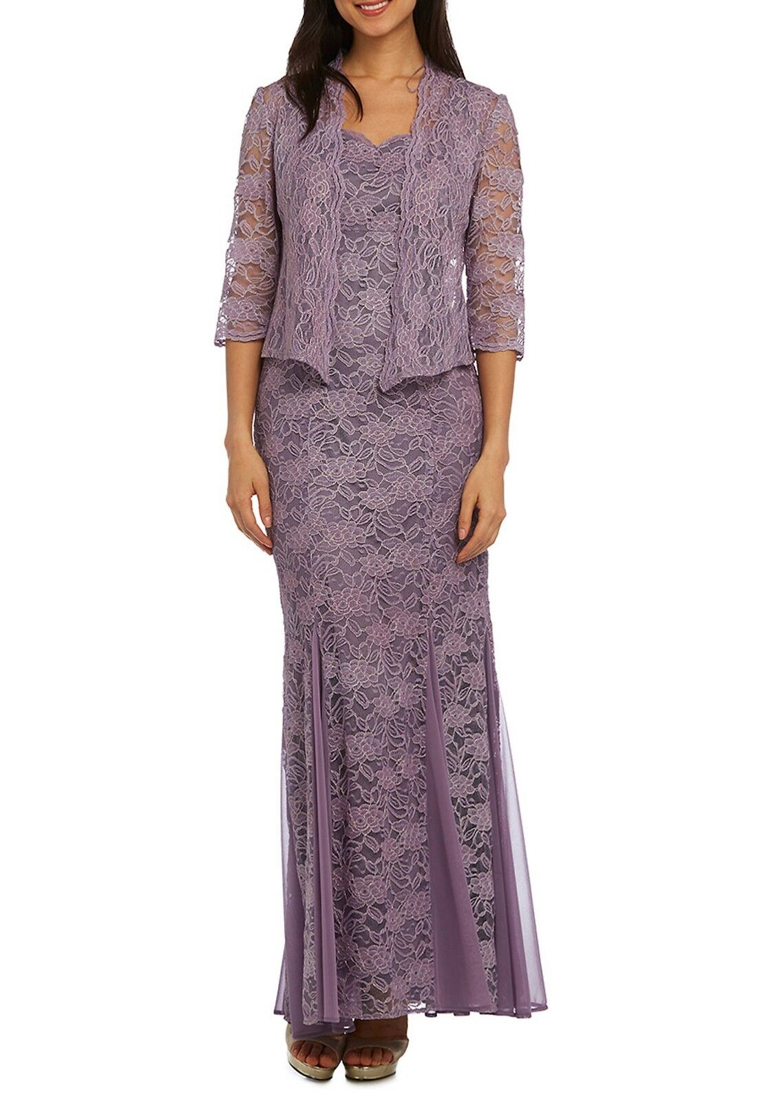 R&M RICHARDS® 8, 10, 14 Lilac Metallic Scallop Jacket Dress NWT