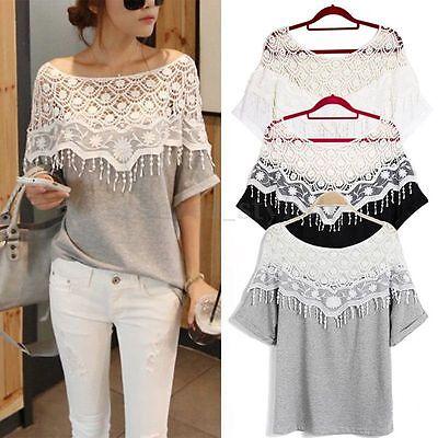 UK 8-24 Sexy Womens Hollow Lace Crochet Batwing Short Sleeve T Shirt Blouse Top