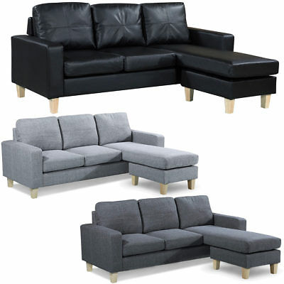 L Shaped Corner Chaise Sofa Grey Fabric Black Faux Leather