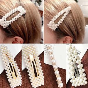 76afcb828 Image is loading Women-Big-Pearl-Hair-Clip-Snap-Barrette-Stick-