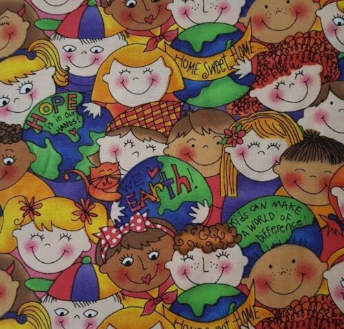 Reuse Recycle Go Green BTY Kari Pearson Quilting Treasures Kids Make Difference