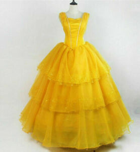 Beauty And The Beast Princess Belle Ball Gown Dress Cosplay Costume Dress Gifts Ebay