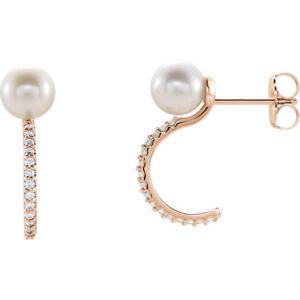 f1ef41c0c1b58 Cultured Pearl & Genuine Diamonds 1/6 ctw Stud & Hoop Style Earrings ...