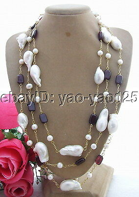 Q13090503 Charming! 25mm Bead-Nucleated Pearl&Garnet Necklace