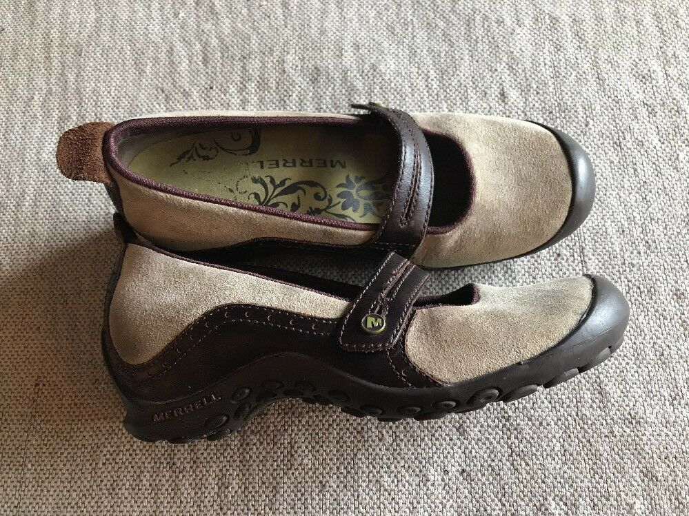 merrell plaza bandeau cuir chaussures sz 6,5  s cuir bandeau ortholite noir taupe mary jane 0b71f6