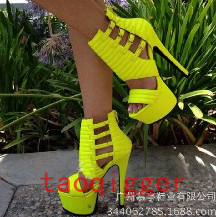 Womens Stiletto Super High Heel Sandals Buckle Peep Toe Sexy Yellow Platform New