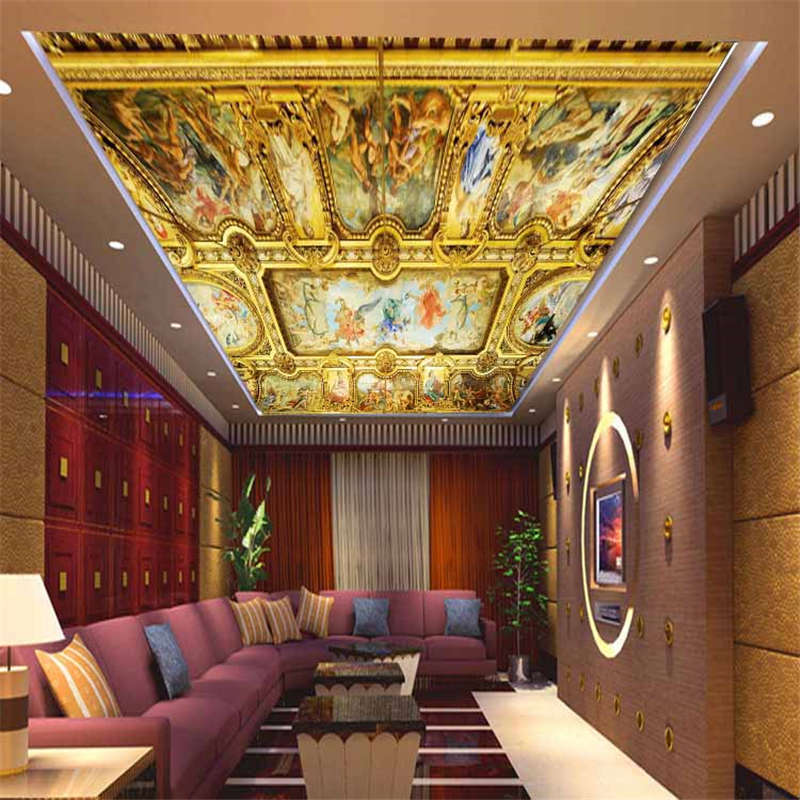Interior European Style Full Wall Ceiling Mural Photo Wallpaper Print 3D Decal