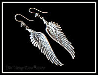 925 Bali Sterling Silver Guardian Angel Wings Earrings + Free Earrings Gift