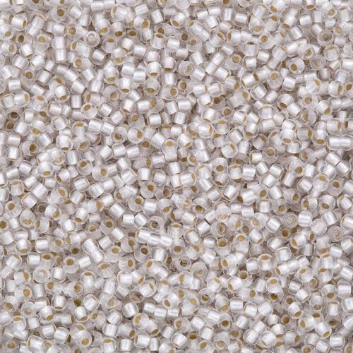 Q93//2 Toho tamaño 11//0 Semilla Cuentas permafinish Plata Forrado De Cristal Esmerilado 8.2g