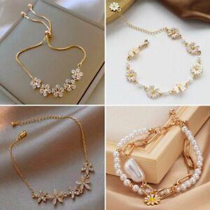 Gold Pearl Zircon Daisy Flower Charm Bracelet Adjustable Bangle Women Jewelry