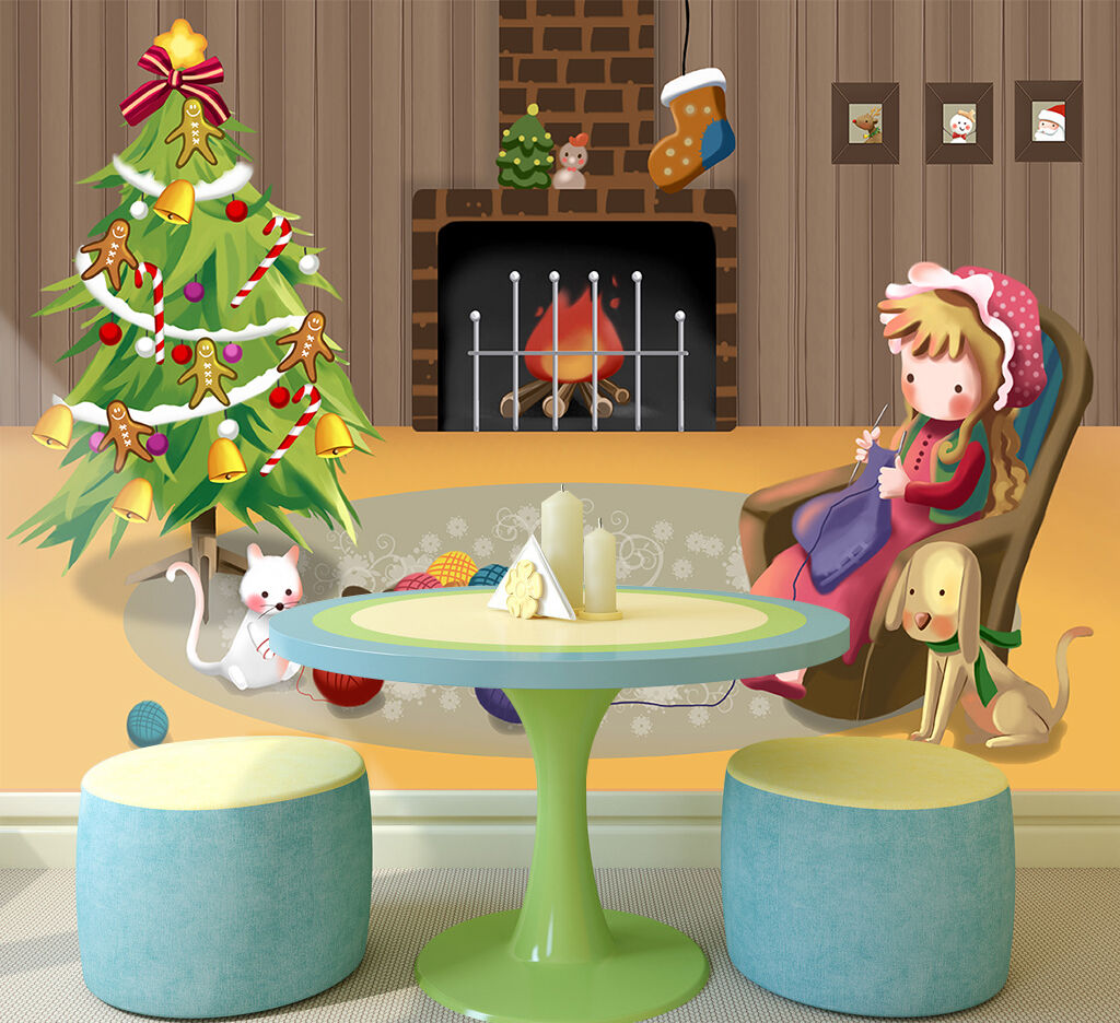 3D Christmas girl tree art Wall Paper Print Decal Wall Deco Wall Indoor Murals