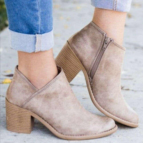 Women Falt Low Mid Block Heel Ankle Boots Chunky Winter Short Booties Shoes Size