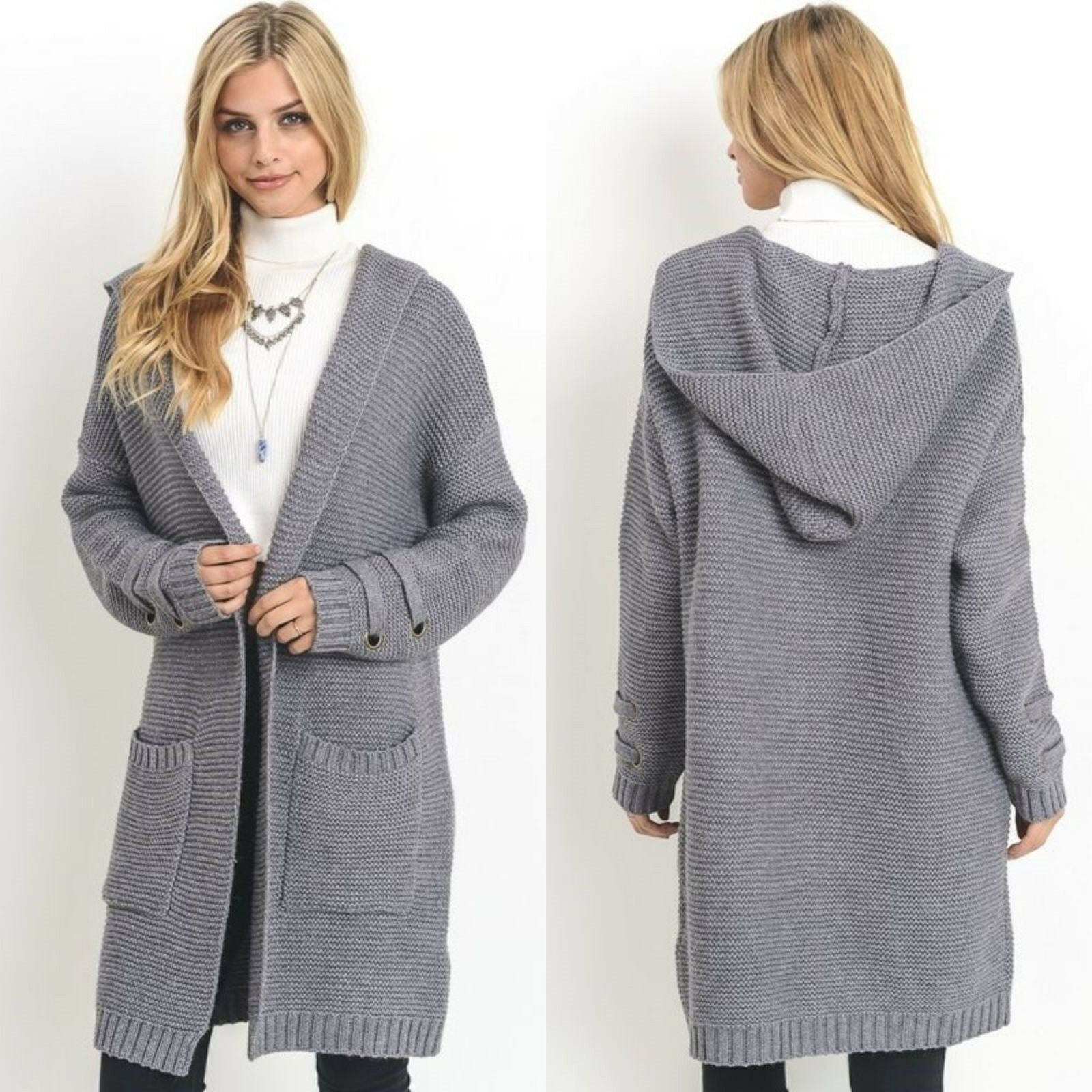 Long Chunky Knit Sweater Coat New Grey S M L Open Front Hooded Fall Winter FAVE