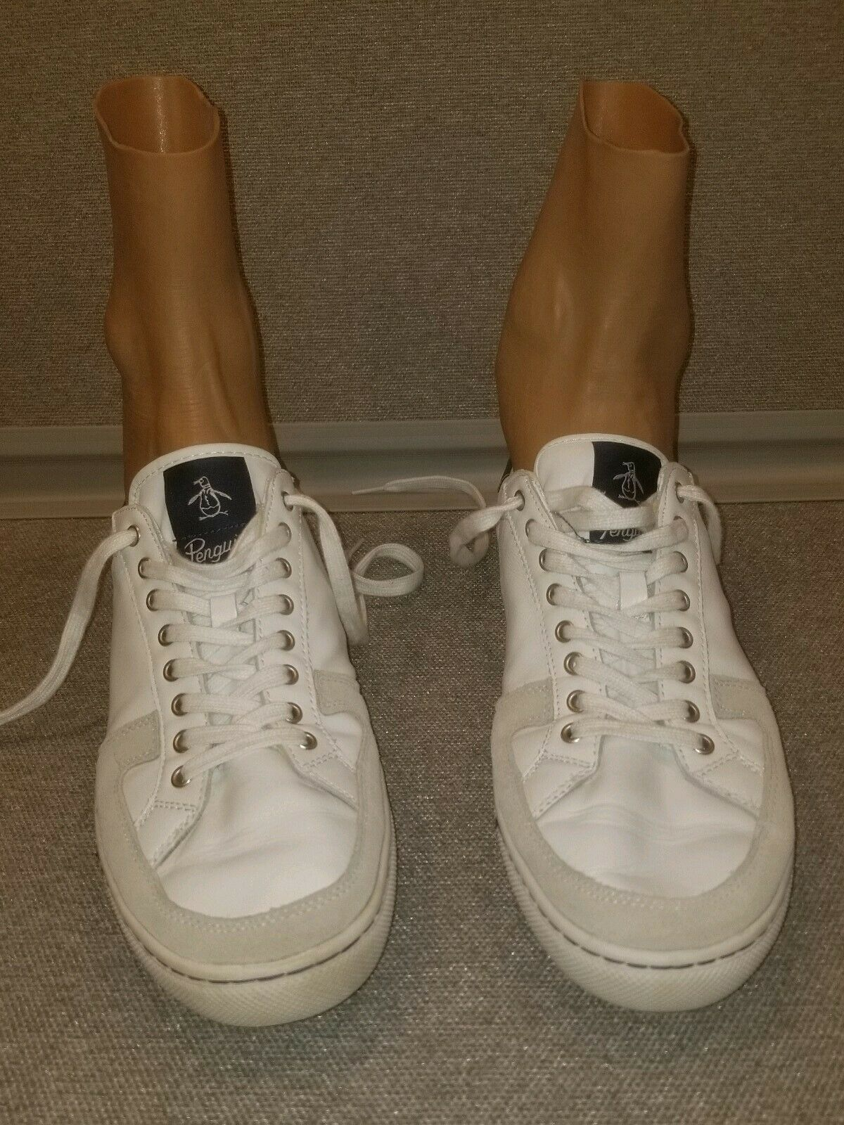 Mens Original Penguin White Rave Leather Sneakers by Munsing Wear US Size 12