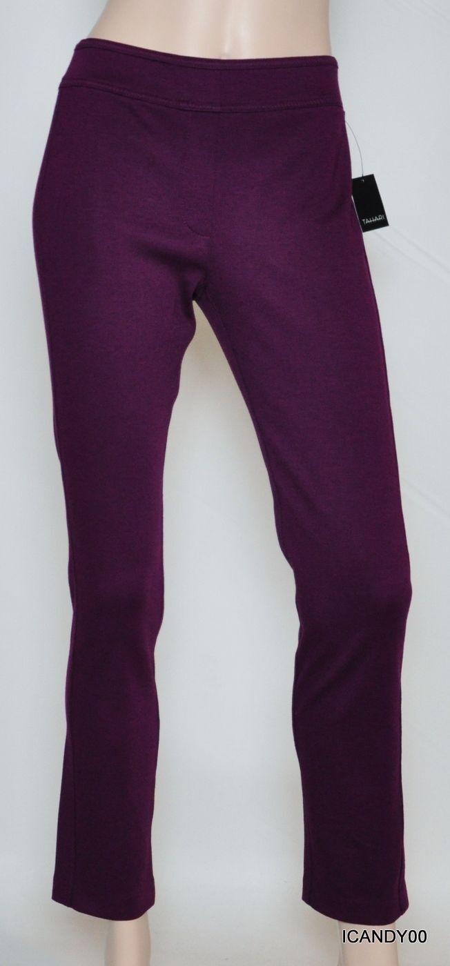 Nwt  178 Tahari ELLEN Stretch Jersey Skinny Pants Trousers Slacks lila 2