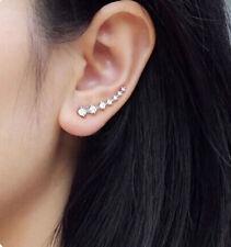 1x PAIRWomens Rhinestone Silver Crystal Earrings Ear Hook Stud Jewelry Top UK SE