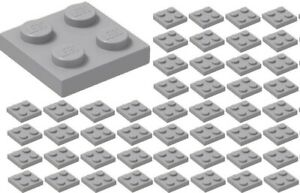 100 New Lego 2x2 Plates Lot Light Bluish Gray 3022 flats pieces for building