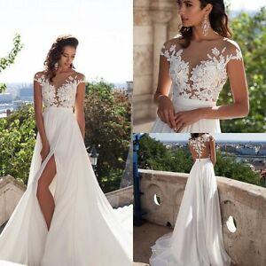 White-Ivory-Chiffon-Lace-Wedding-Dress-Beach-Bridal-Gowns-Custom-2-4-6-8-10-12