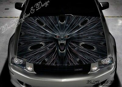Horror Skull Full Color Graphics Adhesive Sticker Fit any Car Hood #233