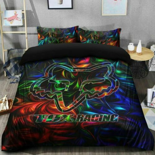 Neon Fox Motocross Cotton Cotton Bed Sheets Duvet Cover Bedding Sets Fans Gifts