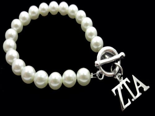 ZETA TAU ALPHA  Sorority Greek Synthetic Pearl Toggle Bracelet Jewelry #FBR2447