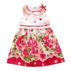 Rosa Para Niña Floreado Vestido Fiesta Verano 5-6 Años