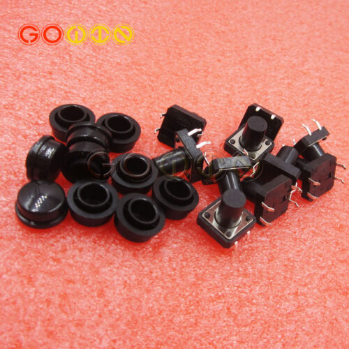 10PCS Black Momentary Button Switch Cap 12X12X12MM Round Head Switch