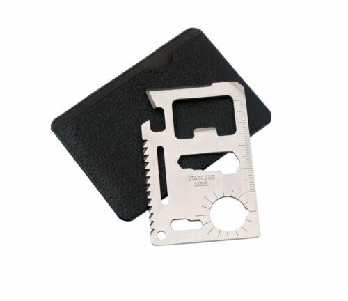 Multi-Tool Multifunktionswerkzeug im Scheckkartenformat Edelstahl mit Leder Etui