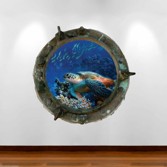 PORTHOLE Seat Turtle Full Colour Wall Art Sticker Decal Boys girls Bedroom Reef