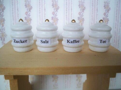 1:12 4 miniatura scorta dosi Tee-caffè-zucchero-sale casa delle bambole-NUOVO