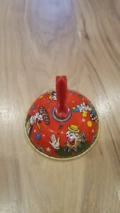 Vintage Tin Litho Metal Noise Maker Party Bell Cigar Smoking Clown Red