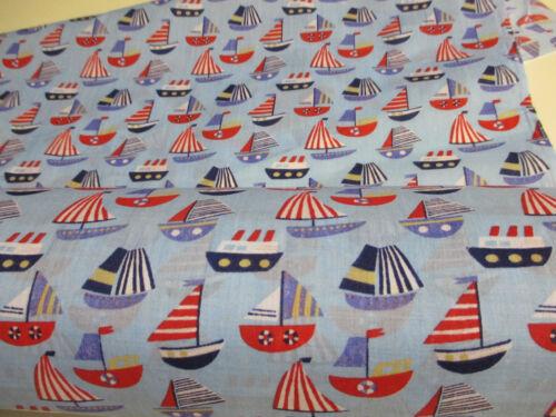 Yachten Bedruckt Polybaumwolle Stoff Zwei Farben Verfügbar Nautisch Boot