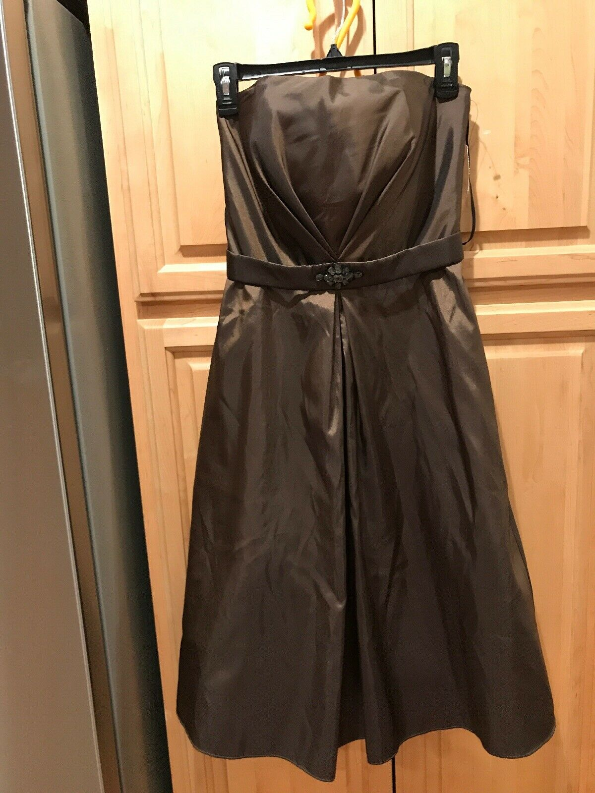 Bari Jay Evening gown bridesmaid Brown sleeveless dress siz S Full Lining #220