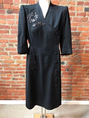 Vintage 1940's Black Wool Dress  leather Aapplique