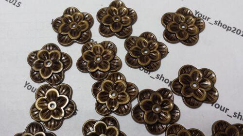 10 Flower Charms Antique Bronze Tone Pendants Button 30mm Jewellery making arts